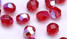 50 Ruby Red AB Czech Glass Faceted Beads 6MM