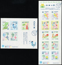 Japan 2018 National Letter Writing Day Cat Bird Owl Sheets Nh Scott 4218-19