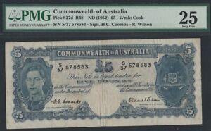 KM#27.D  1952 AUSTARLIA 5 POUND  NOTE  PMG-VF25