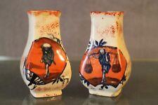 Paire de vases en porcelaine signée décor Japon Chine début 20e porcelain vase