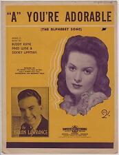 "VINTAGE ""A"" YOU'RE ADORABLE SHEET MUSIC, 1948, SINGER BRIAN LAWRANCE, PERRY COMO"