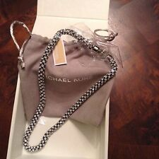 MICHAEL KORS MKJ4963 Silver Park Ave Mesh Crystals necklace NWT Retail $225