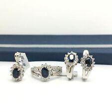 18k White Gold Natural Sapphire Diamond Earring Ring Pendant September Birthday