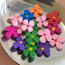 25X Flower Petal Wood Beads 15x15mm Multi Colour DIY Craft Floral Wooden Bead