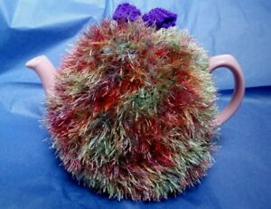 Funky fluffy tea cosy MULTICOLOURED RAINBOW hand knitted in Wales see size guide
