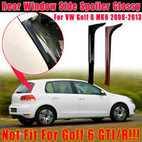 Pair Rear Window Side Spoiler Canard Canards Splitter Gloss For VW Golf 6 MK6 2