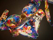 NWT Luli Fama BIKINI SHELL jeweled LOCAS AVENTURAS S sealife fish orchid