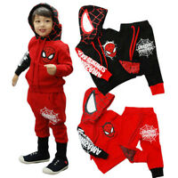Kids Boys Spiderman Costume Outfits Hoodies Pullover Tops + Long Pants Tracksuit