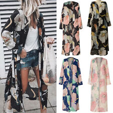 Womens Floral Kimono Cardigan Boho Beach Chiffon Blouse Loose Tops Long Coat 8