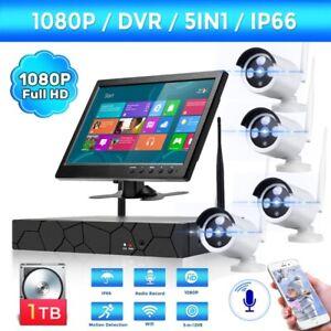 8CH 1080P WLAN IP Überwachungskamera Set WiFi NVR 4x Außen Funk + Monitor + 1TB