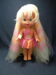 """Mattel Lil miss doll """"CANDY STRIPES"""" 1993. Floor length hair in original outfit."""