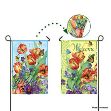 2 Sided Garden Welcome Flag Evergreen Reflections With Butterflies and Flowers