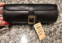 SERAPIAN for Bergdorf Goodman Black Leather Roll Watch Case