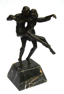 "Sculpture Pierre LE FAGUAYS  ""Pas de deux"" (1920) Bronze. Brown patina. Terrasse"