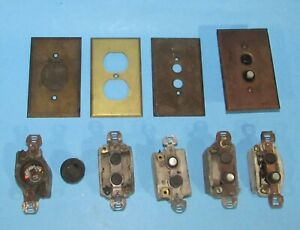 Early Push Button Wall Switches Screw In Receptacle & Brass Wall Plates