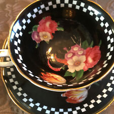 Paragon Teacup and Saucer Black Floral Double Warrant