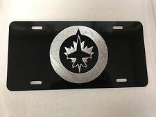 Winnipeg Jets 2 Logo Car Tag Diamond Etched on Aluminum License Plate