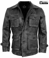 Men's Stylish Cafe Racer Biker Real Leather Distressed Black Leather Coat Jacket