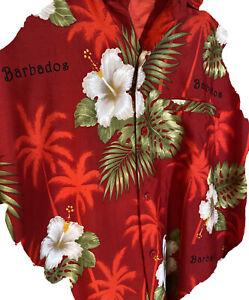 Rima Mens Floral SS Tropical Button Shirt Caribbean Barbados Sz L 🌴