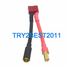 T-Plug (Deans Style) Female to 5.5mm Bullet Male Connector 5CM 12awg Wire Cable
