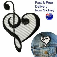 Bass Treble clef heart Iron on patch opera Music lovers notes key symbol patches