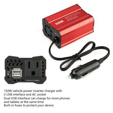 150W Car Power Inverter Charger DC 12V to AC 110V Dual USB Plug Red