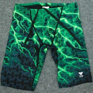 "TYR Men's 10"" TRI Shorts Triathlon Swimming Jammers Trunks Green Lightning sz 30"