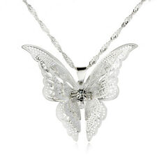 Vintage Women Silver Plated Hollow Out Butterfly Rhinestone Pendant Necklace New