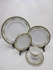 NWT NORITAKE BONE CHINA DARNELL 5PC PLACE DINNER SETTINGS PLATES & CUPS GOLD RIM