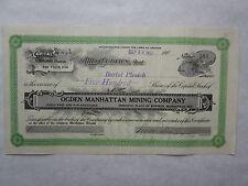 Ogden Manhattan Reorganized Mining Company   A 1907 Arizona Corporation