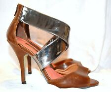 Next Leather Sandals Silver & Tan 38 Size 3 1/2 Ankle Strap Heel Zip 3 1/2 Heels