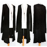 NEW Black Soft Cozy Popcorn Stretch Knit Open Front Pockets Long Duster Cardigan