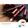 Handmade Wood Pen Dip Ink Pen Bamboo Shape Test Colorful Ink Glass Nib Pen Rest