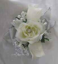 Ivory*Silver*Rose Bud*Open Rose Boutonniere*Pin Corsage*Wedding*Prom*Quinceanera