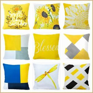 """Yellow White PILLOW COVER Double Sided Sunflower Decorative Cushion Case 18x18"""""""