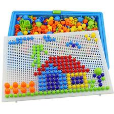 592Pcs Mosaic Peg Board Jigsaw Puzzle Mushroom Nails Educational Toys Kids Gift