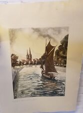 "Antique ""In Quimper"" Original Etching By Ferdinand Luigini"