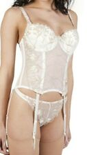 Ivory & Gold Embroidered Underwired Padded Basque 34C Suspenders & Thong 14