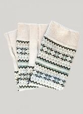 Braintree Womens Wrist Warmers Fingerless Arm Gloves Fairisle Grey Wool Cotton