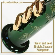 Straight Soprano Saxophone in Case - Green with Gold Colored Keys - Masterpiece