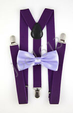 Lavender Bow Tie Dark Purple Suspender Mens Adult Combo Set Wedding SBT35