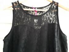 Señoras Encaje Vestido Elástico Negro Tamaño 16