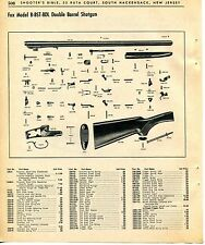 1965 Print Ad of Fox Model B BST BDL Double Barrel Shotgun parts list