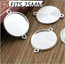 2 x silver plated cabochon connector setting fits 25mm glass