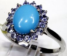 Sleeping Beauty Turquoise, Tanzanite Ring Sterling Silver (Size 10) 3.41 Cts