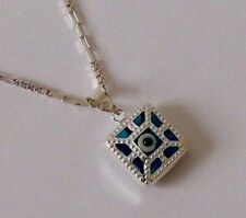 925 STERLING SILVER BLUE EVIL EYE PENDANT with Italian chain lenght 45 cm