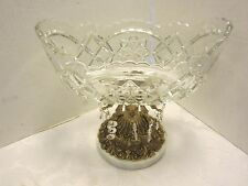 Marble base PRESSED glass oval bowl Brass 12 hanging prisms tears Compote 10.75""