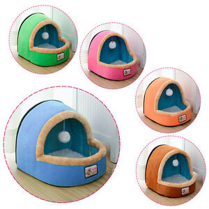 Pet Dog Cat Bed Puppy House Warm Kennel with Toy Balls Pet Mat Blanket Portable