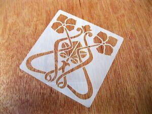 Art Nouveau Style Flower No.2 Tile Crafting Stencil 10cm or 15cm Reusable Mylar