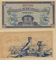 25 Céntimos. Consejo de Asturias y León. Sin serie. Nº 497739. PLANCHA.